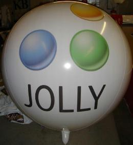 advertising balloon with custom Jolly ball logo
