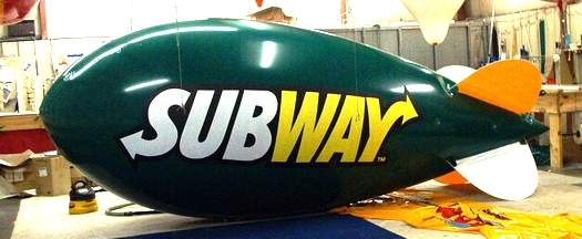 Advertising Blimp - 17ft. Subway Logo. Blimp advertising increases traffic!
